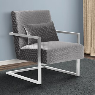 Armen Living Skyline Contemporary Accent Chair in Grey Velvet with Polished Silver Steel finish