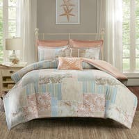 Madison Park Stone Harbor Coral Cotton Printed 7-piece Duvet Cover Set
