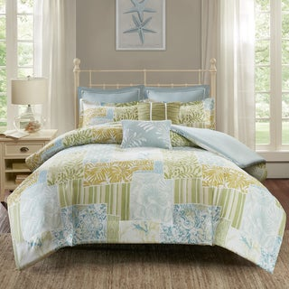 Madison Park Stone Harbor Blue/ Green Cotton Printed 7-piece Duvet Cover Set