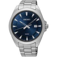 Seiko Men's SUR207 Blue Dial Stainless Steel Watch with Date