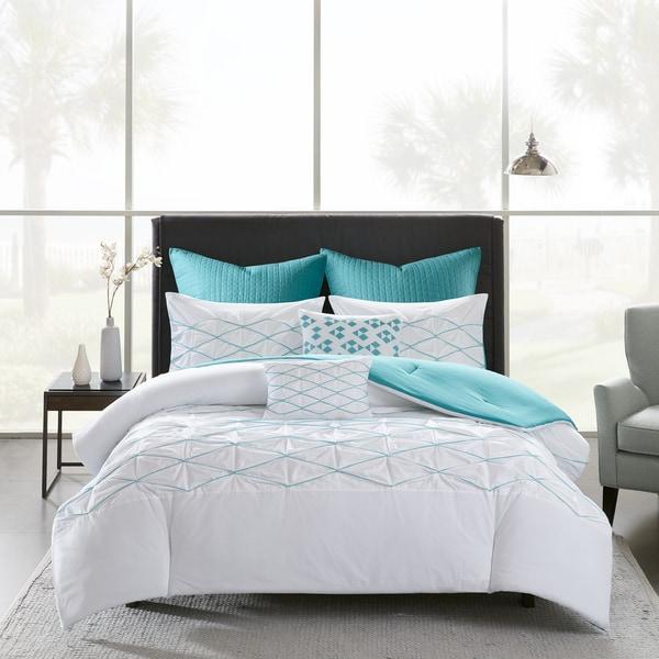 Urban Habitat Bellina White/ Aqua 7 Piece Cotton Printed Comforter Set