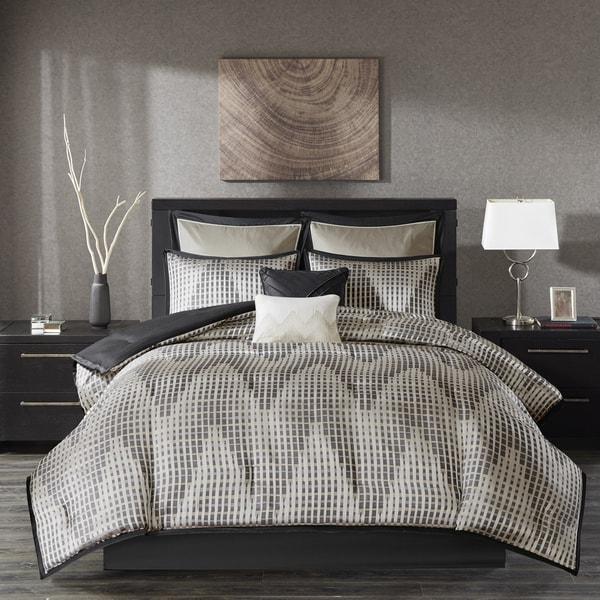 Madison Park Hailey Black 8 Piece Jacquard Comforter Set