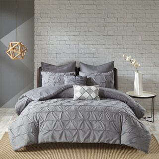 Urban Habitat Cullen Grey 7 Piece Embroidered Duvet Cover Set