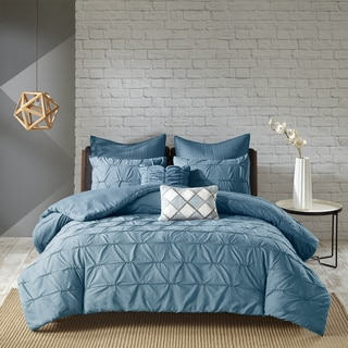 Urban Habitat Cullen Blue 7 Piece Embroidered Duvet Cover Set