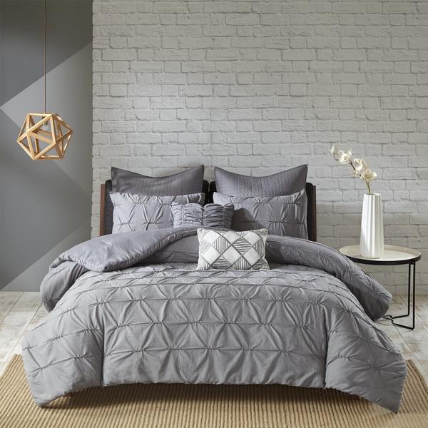 Urban Habitat Cullen Grey Cotton 7-piece Embroidered Comforter Set