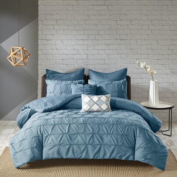 Urban Habitat Cullen Blue 7 Piece Embroidered Comforter Set