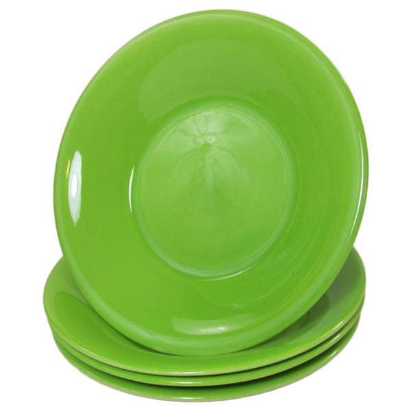 Handmade Le Souk Ceramique UPST39 Stoneware Salad/Pasta Bowls, Set of 4, Solid Green (Pistachio)