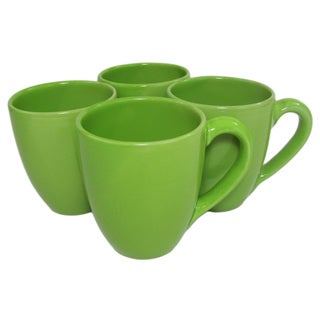 Handmade Le Souk Ceramique UPST57 Stoneware Tea/Coffee Cups, Set of 4, Solid Green (Pistachio)