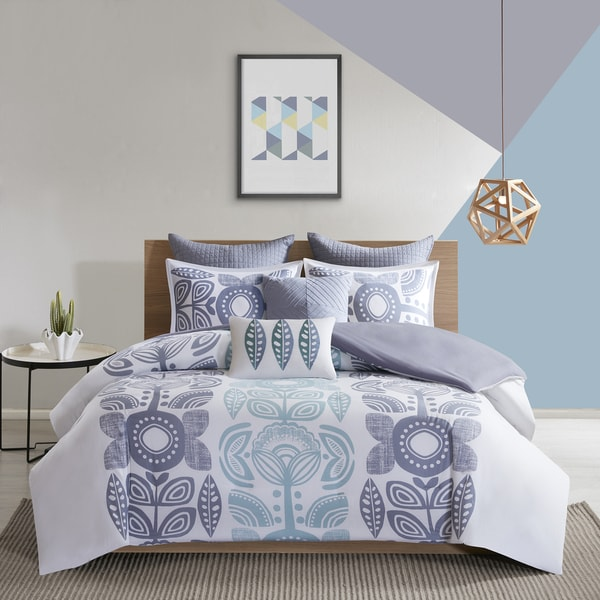 Urban Habitat Teo Blue 7 Piece Cotton Printed Duvet Cover Set