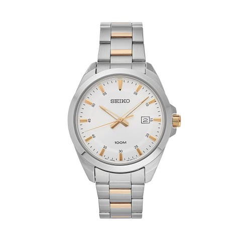 Seiko Men's SUR211 Silver Dial Stainless Steel Watch with Date