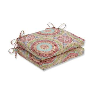 Pillow Perfect Outdoor/ Indoor Delancey Jubilee Squared Corners Seat Cushion (Set of 2)