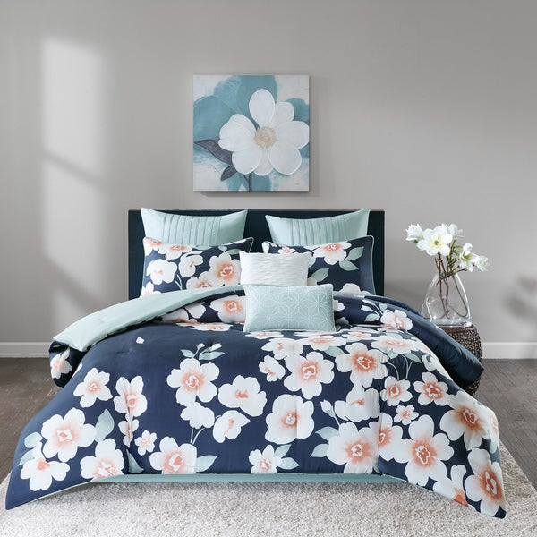 Madison Park Grace Navy 8 Piece Cotton Printed Comforter Set