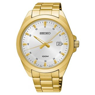 Seiko Men's SUR212 Gold-Tone Silver Dial Stainless Steel Watch with Date