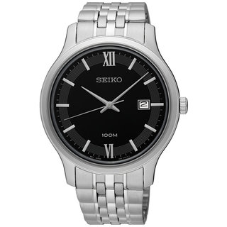 Seiko SUR221 Men's Black Dial 100M Water Resistant Stainless Steel Watch with Date