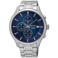 Seiko Men's SKS549 Stainless Steel Blue Dial Chronograph 100M Water Resistant Watch