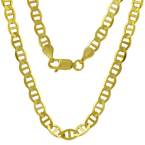 cd68cf91f3a9a Shop Men's 14k Yellow Gold 6.5mm Flat Mariner Chain Necklace - Free ...