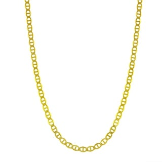 14k Yellow Gold 2mm Flat Mariner Chain Necklace