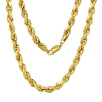 Men's 14k Yellow Gold 5mm Rope Chain Necklace