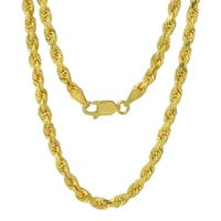 14k Yellow Gold 3mm Rope Chain Necklace