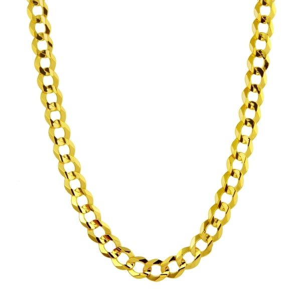 Men's 14k Yellow Gold 4.6mm Flat Cuban Chain Necklace
