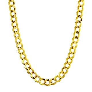 Men's 14k Yellow Gold 4.6mm Flat Cuban Chain Necklace (Option: 26 Inch)