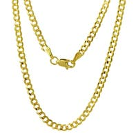 14k Yellow Gold 3mm Flat Cuban Chain Necklace