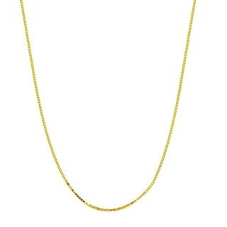 18k Yellow Gold 0.5mm Diamond-Cut Box Chain Necklace