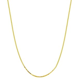 18k Yellow Gold 0.8mm Diamond-Cut Box Chain Necklace