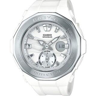 Casio Women's BGA220-7A 'Baby-G' Analog-Digital White Resin Watch