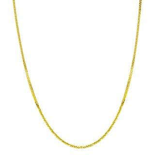 18k Yellow Gold 0.8mm Diamond-Cut Wheat Chain Necklace