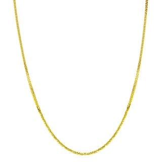 14k Yellow Gold 1mm Open Wheat Chain Necklace