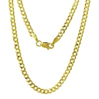 14k Yellow Gold 3.7mm Flat Cuban Chain Necklace