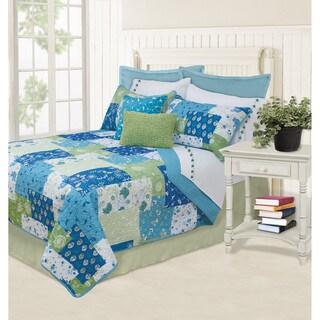 Caroline Blue Printed Quilt and Sham Set