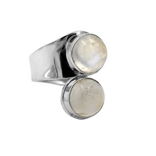 Sterling Silver Wrap Moonstone Ring - White