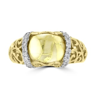 La Vita Vital 14k Yellow Gold, Gold Quartz and 1/4ct TDW White Diamond Ring