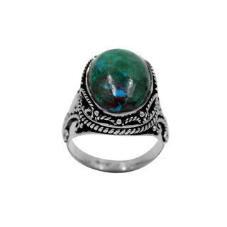 Sterling Silver Chrysocolla Ring with Silver Design Details - Blue (More options available)
