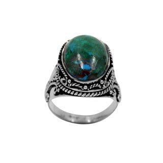 Sterling Silver Chrysocolla Ring with Silver Design Details - Blue
