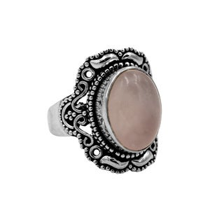 Sterling Silver Rose Quartz Ring - Pink