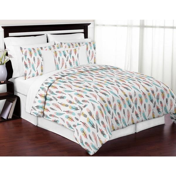 Sweet Jojo Designs Feather Collection 3-piece Full/Queen Comforter Set