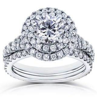 Kobelli 14k White Gold 2 2/5ct TDW Round Diamond Double Halo Bridal Set (H-I, I1-I2)