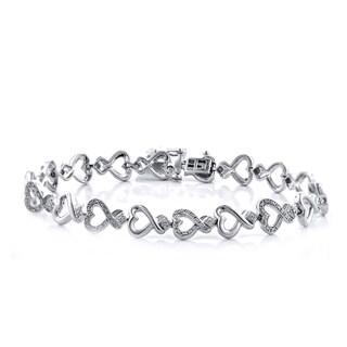 Sterling Silver 1/10ctTW Heart Shape Diamond Bracelet