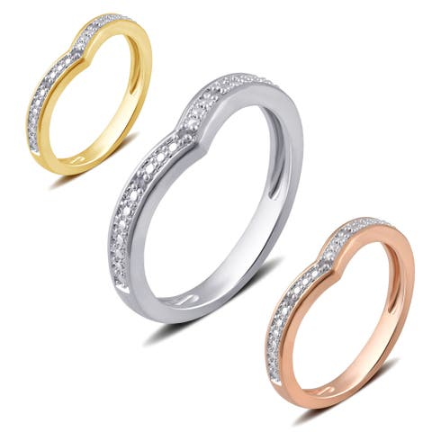 Divina Silver Overlay and Goldtone Diamond Accent Contour Wedding Band