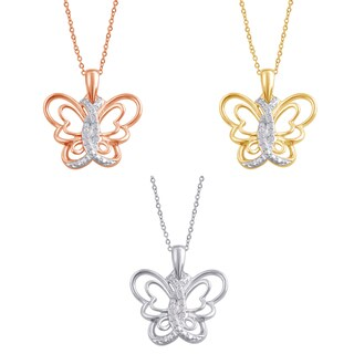 Divina Silver Overlay and Goldtone Diamond Accent Butterfly Pendant