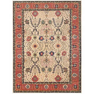 Herat Oriental Afghan Hand-knotted Vegetable Dye Oushak Wool Rug (10' x 13'7)