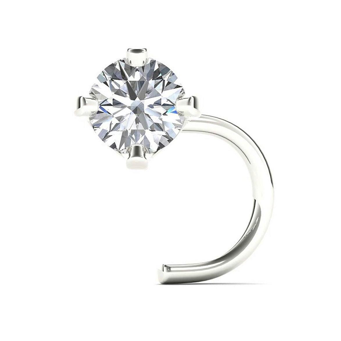 JewelMore 14K White Gold 1/10ct TDW White Diamond 3 mm, 2...