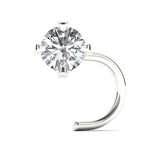 JewelMore 14K White Gold 1/10ct TDW White Diamond 3 mm, 20 Gauge Twist Screw Nose Ring