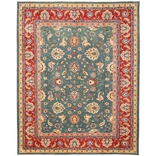 Herat Oriental Afghan Hand-knotted Vegetable Dye Oushak Wool Rug (10'2 x 13')