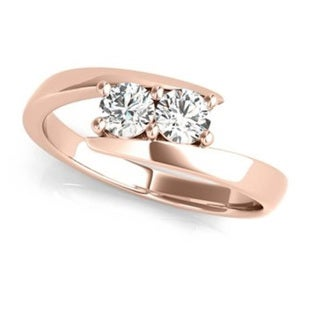14k Rose Gold 1/4ct TDW White Diamond I Love Us Two-Stone 'My Best friend is My true love' Ring
