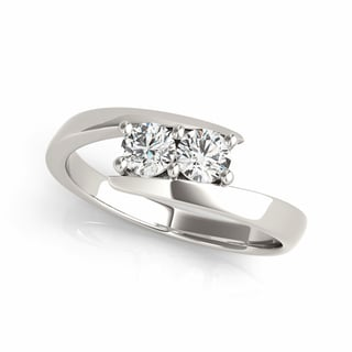 14k white Gold 1/4ct TDW White Diamond I Love U Two-Stone 'My Best Friend is My True Love' Ring