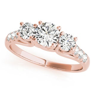 JewelMore 14k Rose Gold 1/2ct TDW White Diamond Three-Stone Engagement Ring (I-J, I2-I3)